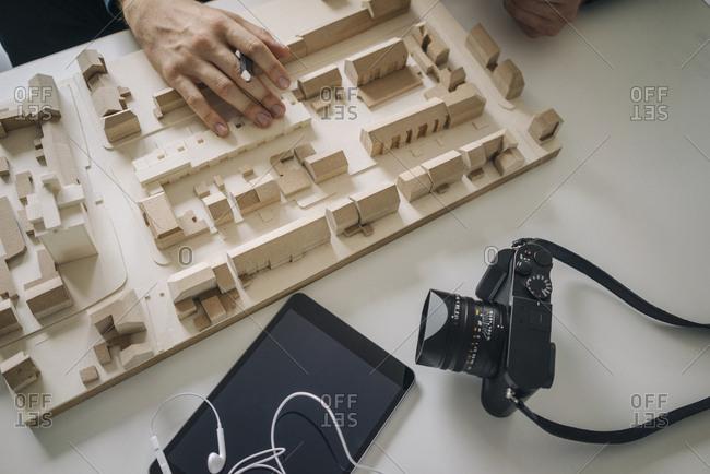 Urban development model- tablet and camera