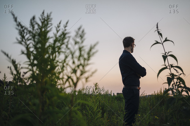 Businessman standing in rural field at sunset