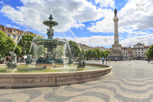 Portugal, Lisbon - October 2, 2016: View to Rossio Square