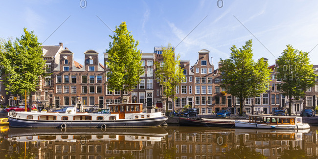 Netherlands- Amsterdam- view to row of typical houses at Prinsengracht