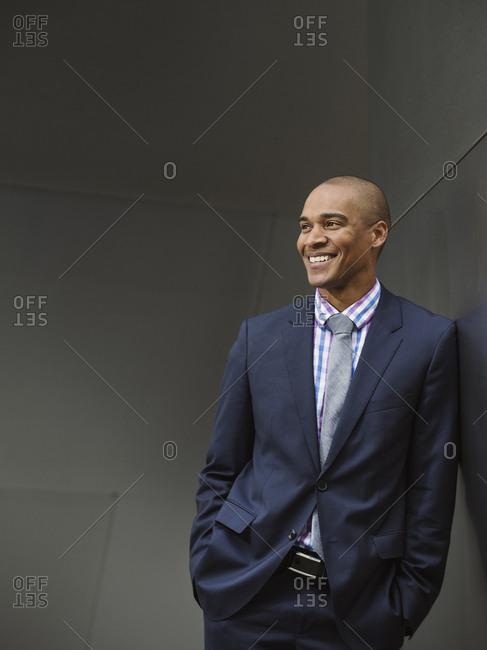 Black businessman smiling
