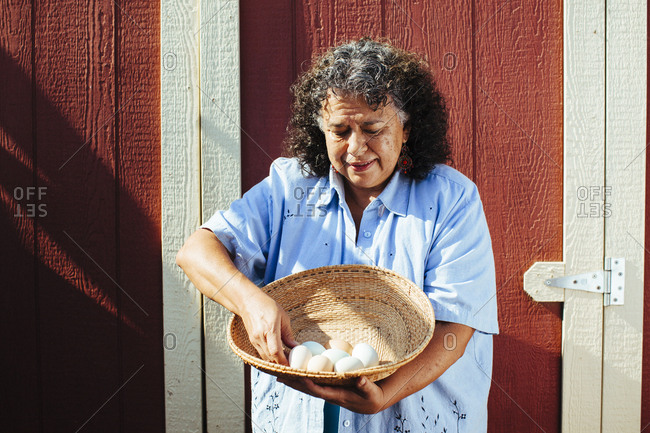 Hispanic farmer counting fresh eggs in basket
