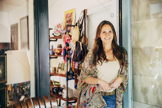 Caucasian entrepreneur standing in store