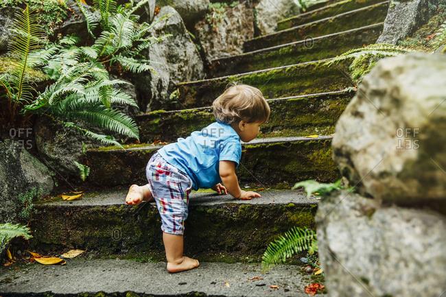 Mixed race baby boy climbing staircase