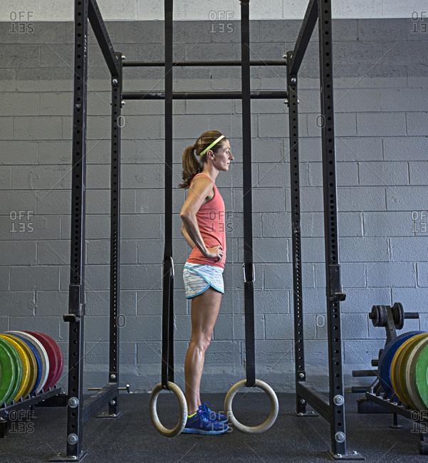 Caucasian athlete standing in gym