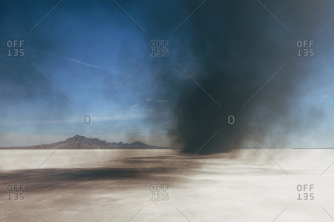 Black diesel smoke from racing truck on the Bonneville Salt Flats, UT