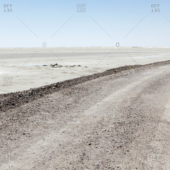 A road across the Bonneville Salt Flats