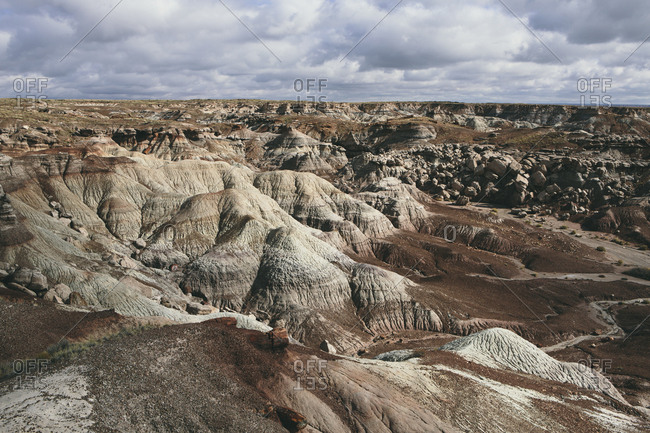 View over the landscape of the Painted Desert rock formations in the Petrified Forest National Park