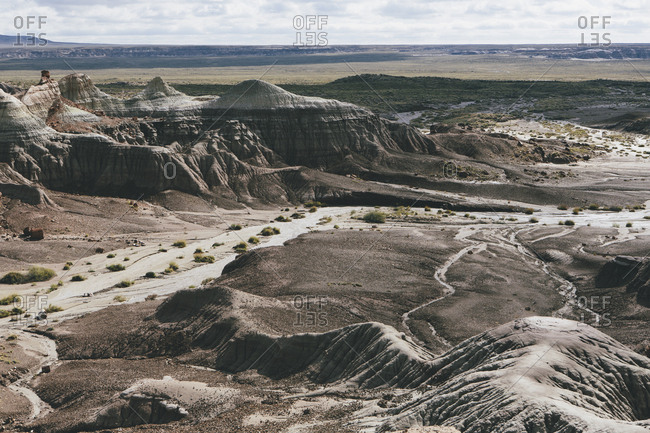 The landscape of the Painted Desert and valley in the Petrified Forest National Park