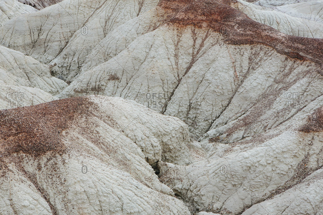 Elevated view of the Painted Desert rock formations in the Petrified Forest National Park