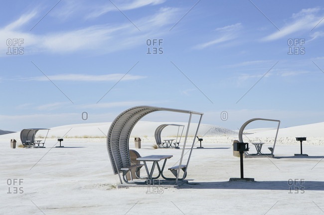 Picnic tables and shelters at White Sands National Park