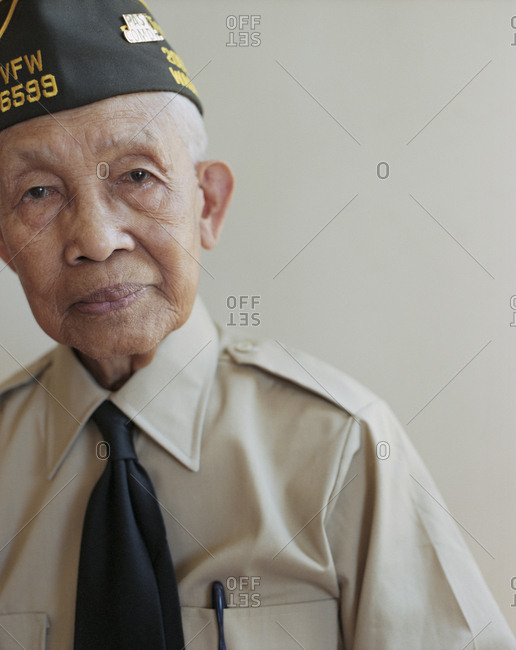 Portrait of elderly WWII veteran