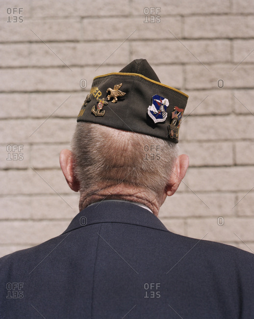 Portrait of elderly Korean War veteran, facing away