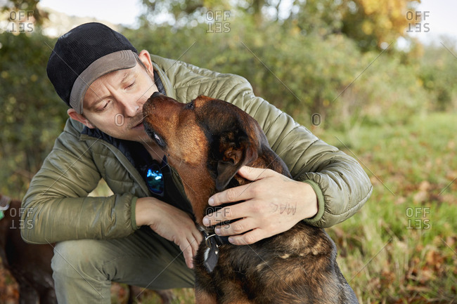 Dog walker bending down to stroke a dog nuzzling his face.
