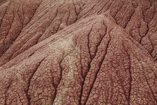 John Day Fossil Beds National Monument. Red rock formations and folds in the rock, geological forms and patterns in the Painted Hills Desert.
