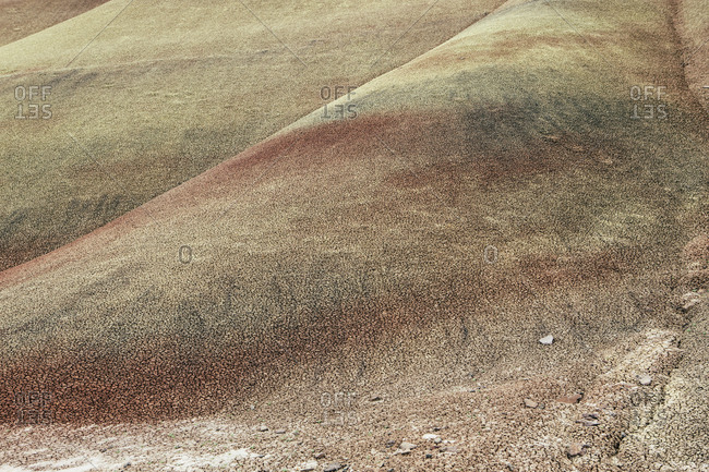The rock formations and colored surfaces of the hillsides of the John Day Fossil Beds National Monument, Painted Hills.