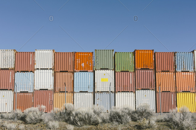 Stacks of colorful shipping containers, Nevada, USA.