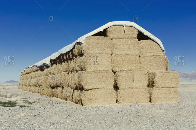 Tarpaulin covering stacked hay bales in an open landscape.