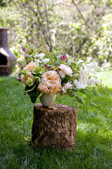 Floral arrangement on tree stump outdoors