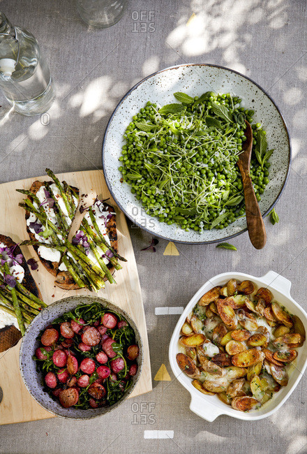 Salad and side dishes at outdoor Easter brunch