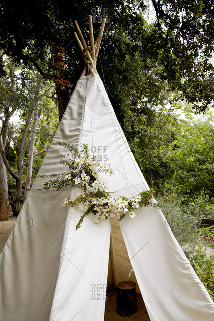 Teepee in yard with dogwoods