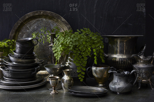 Still life of pewter and silver dishes with plants