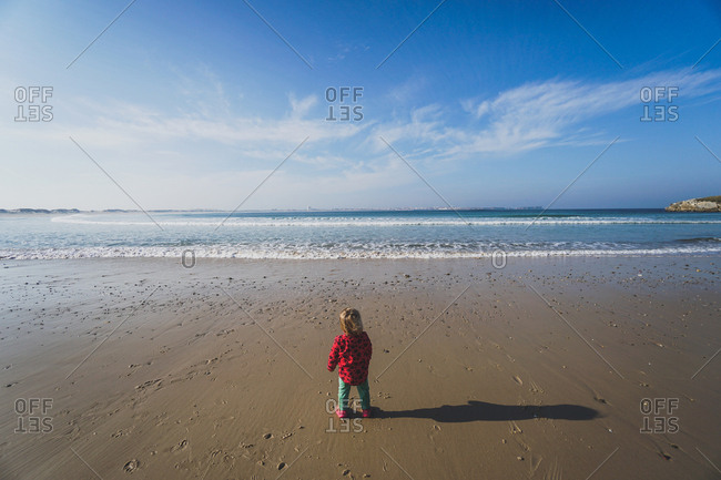 Little girl looking out at the ocean