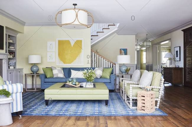 Santa Monica, California - July 25, 2016: Interior of a family room in a home in Santa Monica, CA