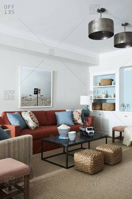 Santa Monica, California - July 25, 2016: Living room in a home in Santa Monica, CA