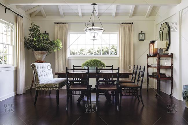 Los Angeles, California - June 19, 2015: Los Angeles home dining room interior