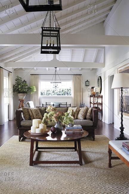 Los Angeles, California - June 19, 2015: Living room interior Los Angeles home