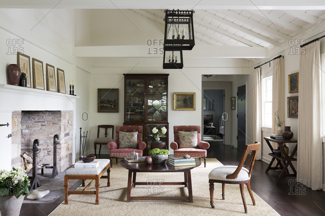 Los Angeles, California - August 6, 2014: Living room with fireplace in a Los Angeles home