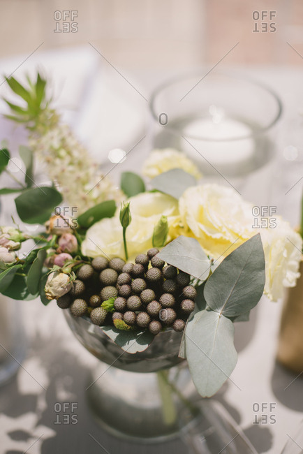 A floral arrangement for wedding table