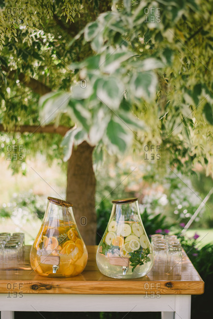 A drinks table for outdoor wedding