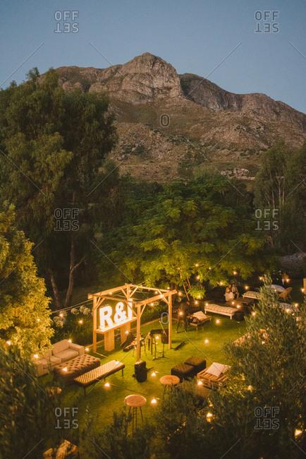 Wedding reception seating near mountains