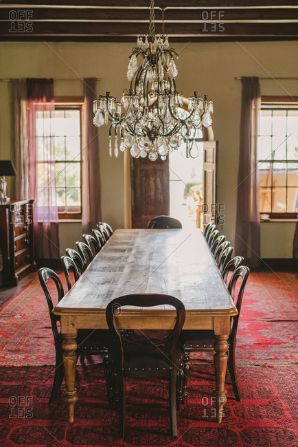 Chandelier over dining table, South Africa