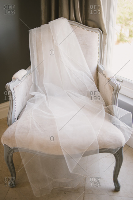 Wedding veil on antique chair