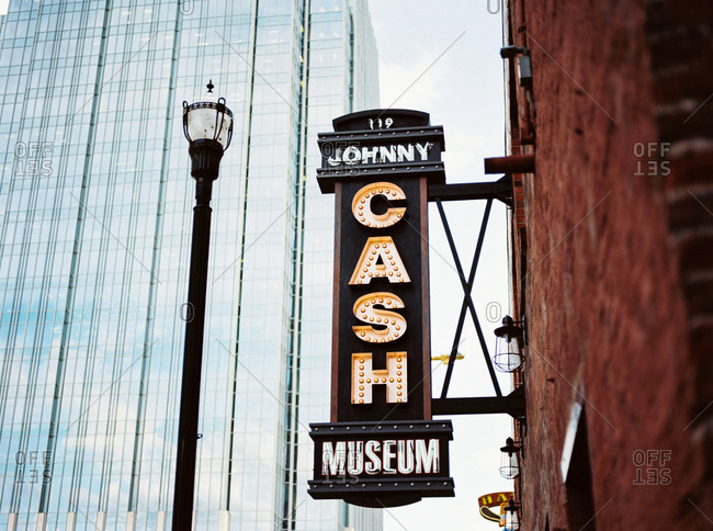 Nashville, Tennessee - March 1, 2017: Johnny Cash Museum sign in Nashville