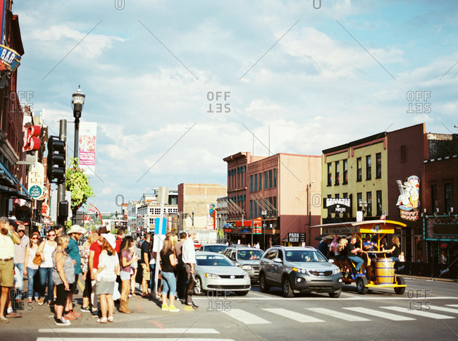 Nashville, Tennessee - March 1, 2017: Crowds on Music Row in Nashville