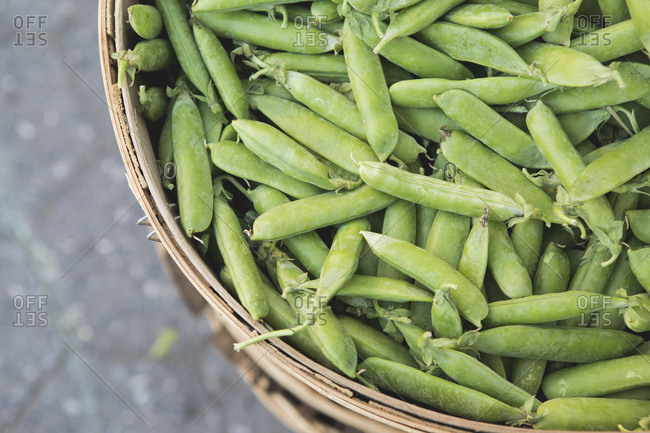 Sugar snap peas in basket