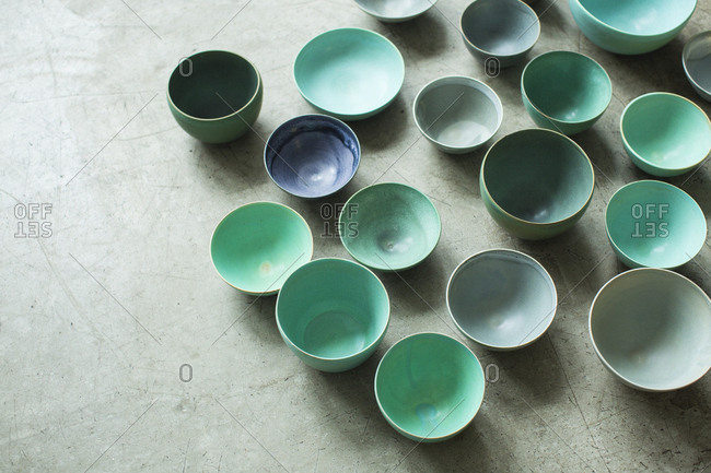 Ceramic bowls in natural light