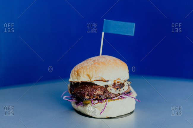 Burger on a blue background