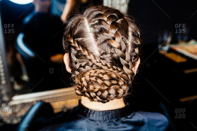 Close-up of a braided hair style