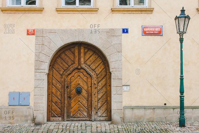 Prague, Czech Republic - July 24, 2016: An ornate wooden door