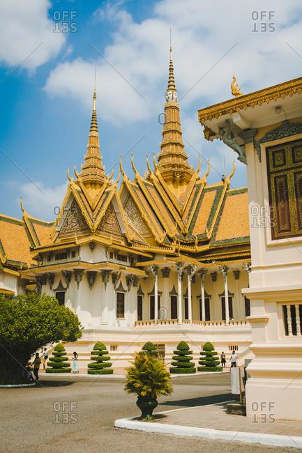Phnom Penh - Cambodia - April 3, 2016: Tourists visiting the Royal Palace