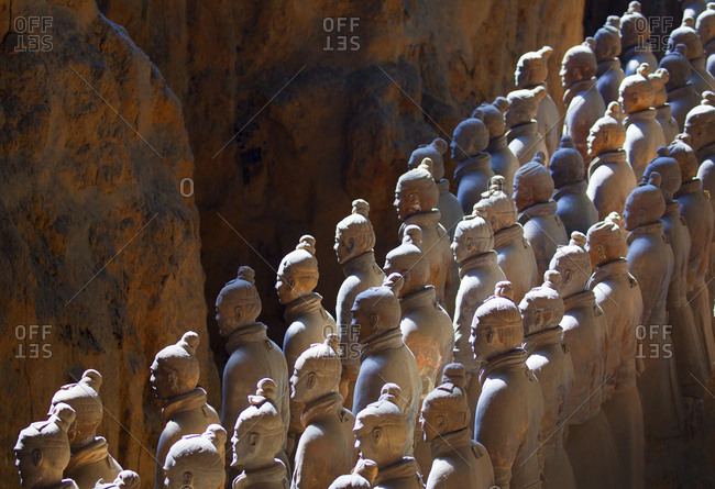 Xian, China - March 26, 2016: Rows of figures in the Terracotta Army in the morning light
