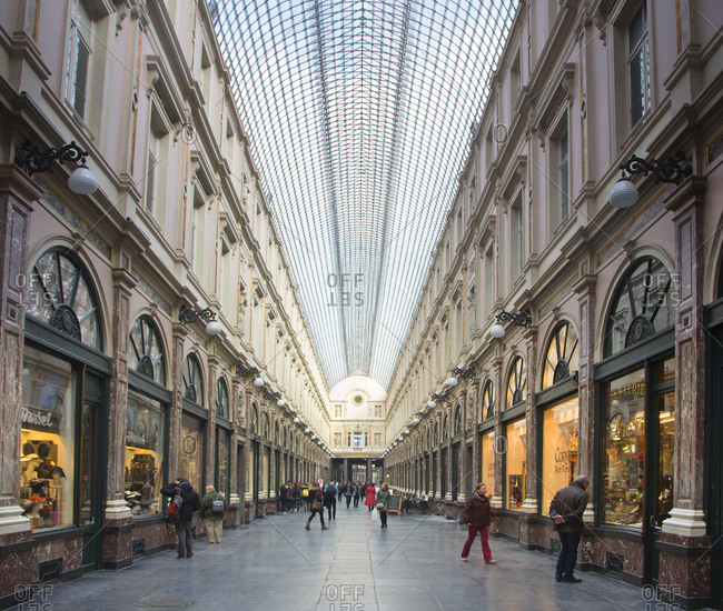 Brussels, Belgium - March 10, 2015: Shopping center store fronts at the Galleries Royals Saint-Hubert