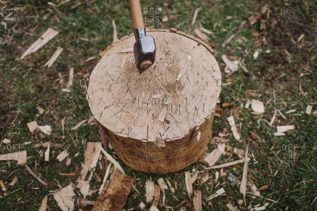 Axe in a log used for splitting firewood