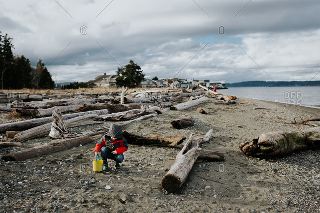 Boy playing on driftwood covered beach