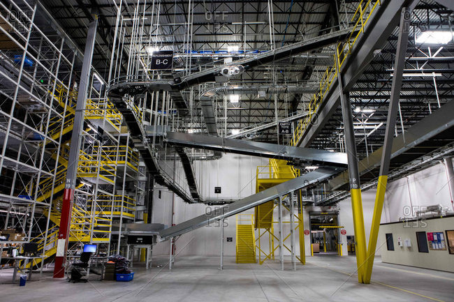 Hazelton, Pennsylvania - January 6, 2017: Interior of an industrial distribution center